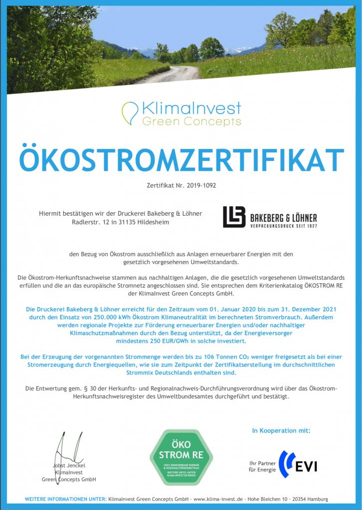 Ökostromzertifikat Bakeberg Löhner